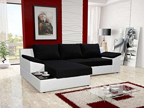 justhome atlanta ecksofa polsterecke schlafsofa stoffbezug kunstleder bxlxh 166x262x86 cm. Black Bedroom Furniture Sets. Home Design Ideas