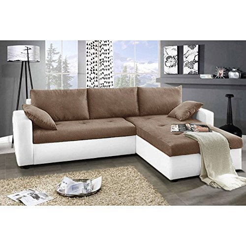 justhome focus ecksofa polsterecke schlafsofa stoffbezug kunstleder bxlxh 142x239x93 cm wei. Black Bedroom Furniture Sets. Home Design Ideas
