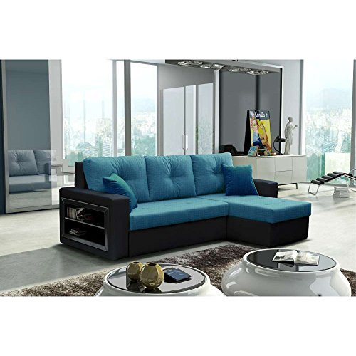 justhome forte ecksofa schlafsofa polsterecke stoffbezug kunstleder bxlxh 142x239x93 cm. Black Bedroom Furniture Sets. Home Design Ideas