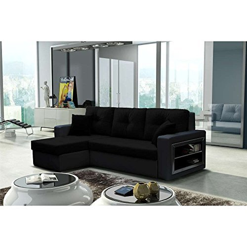 justhome forte ecksofa polsterecke schlafsofa stoffbezug kunstleder bxlxh 142x239x93 cm. Black Bedroom Furniture Sets. Home Design Ideas