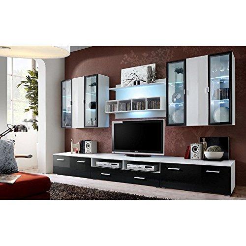 wohnwand schwarz wei hochglanz g nstig. Black Bedroom Furniture Sets. Home Design Ideas