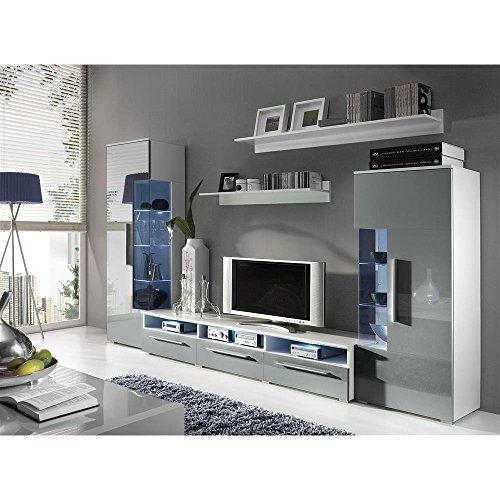 JUSTyou ROMO Wohnwand Anbauwand Schrankwand Farbe: Weiß Matt / Grau Hochglanz