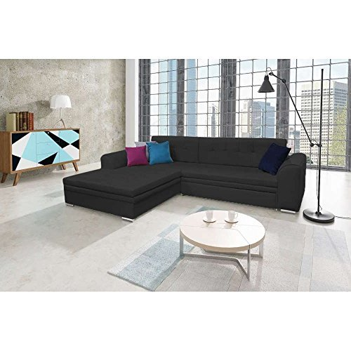 justhome sorento ecksofa polsterecke schlafsofa kunstleder hxbxt 87x295x195 cm schwarz. Black Bedroom Furniture Sets. Home Design Ideas