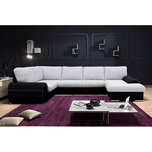 justhome toffi duo wohnlandschaft couchgarnitur polsterecke echtleder schwarz lxt 350 210 180. Black Bedroom Furniture Sets. Home Design Ideas