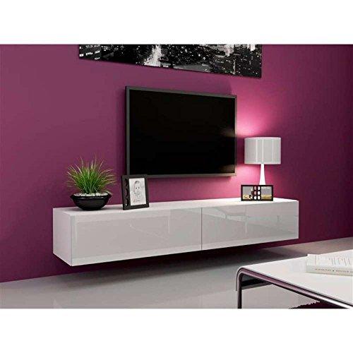 justhome vago lowboard tv board tv m bel 180 cm farbe wei matt wei hochglanz m bel24. Black Bedroom Furniture Sets. Home Design Ideas