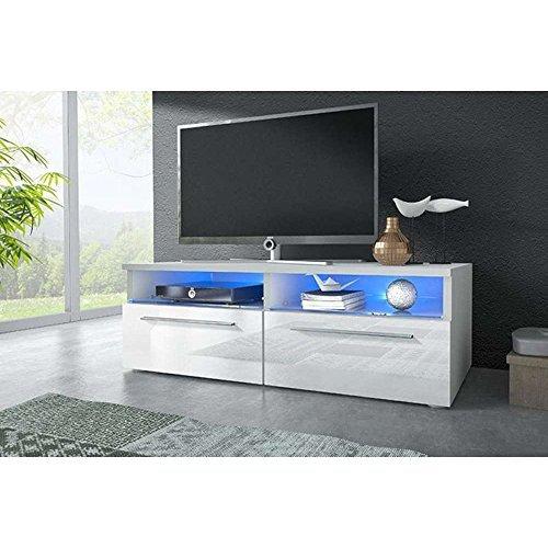 JUSThome Vox VI Lowboard TV Board TV-Möbel (HxBxT) 34,8x100x45,5 cm Farbe: Weiß Matt / Weiß Hochglanz