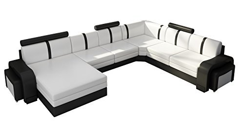 jvmoebel ledersofa leopold couch ecksofa sofagarnitur designer sofa wohnlandschaft schwarz wei. Black Bedroom Furniture Sets. Home Design Ideas