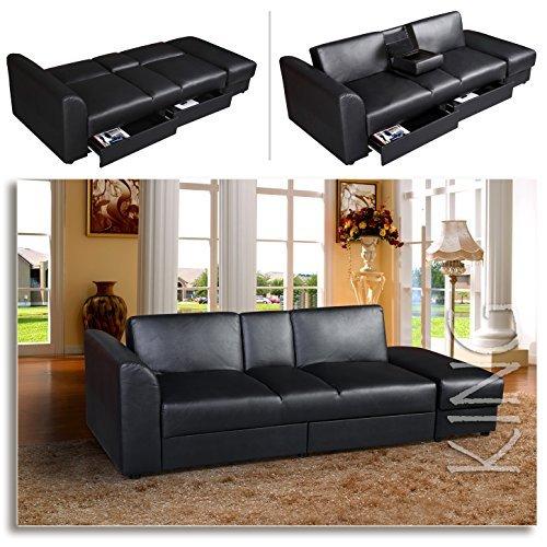 king funktionssofa schwarz schlafsofa sofa kunstleder. Black Bedroom Furniture Sets. Home Design Ideas