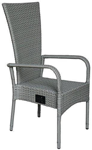 kmh polyrattan hochlehner ben grau stapelbar stufenlos verstellbare r ckenlehne 2. Black Bedroom Furniture Sets. Home Design Ideas