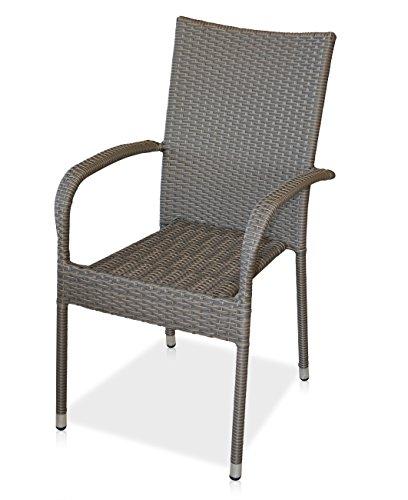 "KMH®, Stapelstuhl ""Tajs"" Gartenstuhl aus Polyrattan (bicolor - braun/grau) (#106059)"