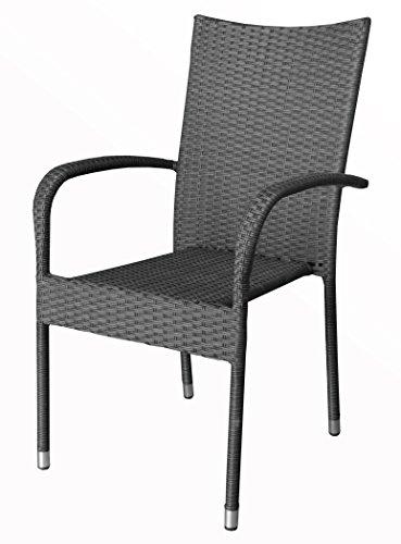 "KMH®, Stapelstuhl ""Tajs"" Gartenstuhl aus Polyrattan (grau) (#106084)"