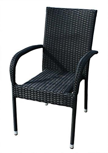 "KMH®, Stapelstuhl ""Tajs"" Gartenstuhl aus Polyrattan schwarz (#106031)"