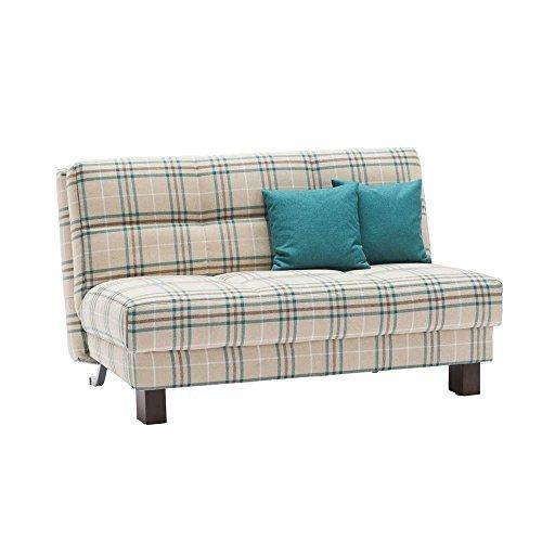 klappcouch in beige petrol kariert stoff breite 160 cm sitzpl tze 4. Black Bedroom Furniture Sets. Home Design Ideas