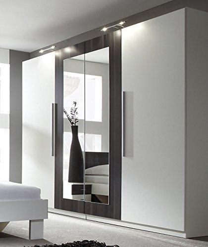 Kleiderschrank Schrank 54027 4-türig mit Spiegel weiß / nussbaum schwarz