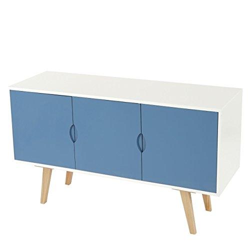 mendler kommode malm t258 schrank sideboard retro design 70x120x40cm blaue front m bel24. Black Bedroom Furniture Sets. Home Design Ideas