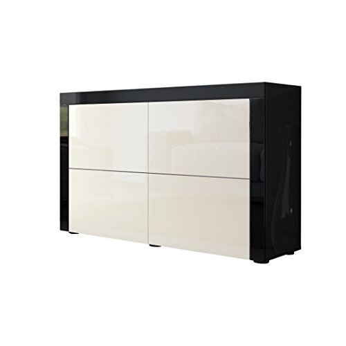 kommode sideboard la paz v2 in schwarz hochglanz creme. Black Bedroom Furniture Sets. Home Design Ideas