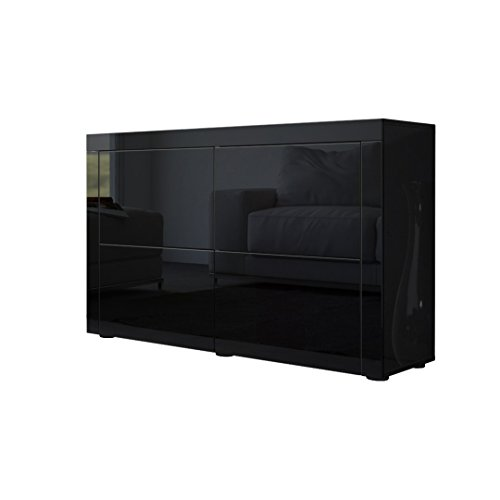 kommode sideboard la paz v2 korpus in schwarz hochglanz front in schwarz hochglanz mit rahmen. Black Bedroom Furniture Sets. Home Design Ideas