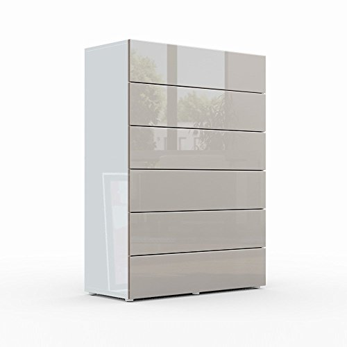 kommode sideboard massa v3 korpus in wei hochglanz front in sandgrau hochglanz m bel24. Black Bedroom Furniture Sets. Home Design Ideas