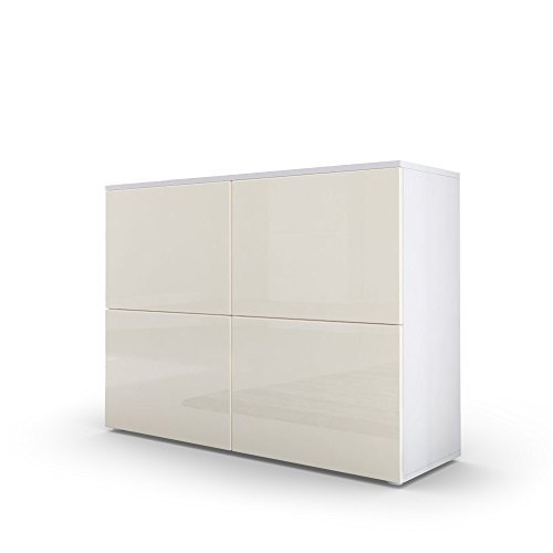 kommode sideboard rova korpus in wei matt t ren in creme hochglanz und creme hochglanz m bel24. Black Bedroom Furniture Sets. Home Design Ideas