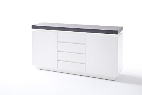 kommode sideboard mit schubladen schrank mit beleuchtung wei mit beton dekor m bel24 shop. Black Bedroom Furniture Sets. Home Design Ideas