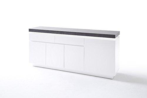 Kommode, Sideboard mit Schubladen, Schrank mit Beleuchtung, weiß mit Beton-Dekor