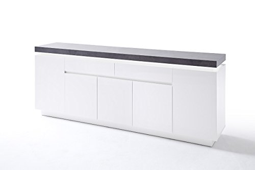 kommode sideboard mit schubladen schrank mit beleuchtung wei mit beton dekor m bel24. Black Bedroom Furniture Sets. Home Design Ideas
