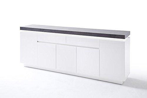kommode sideboard mit schubladen schrank mit beleuchtung wei mit beton dekor m bel24 shop. Black Bedroom Furniture Sets. Home Design Ideas