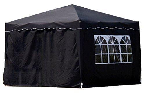 Kronenburg Falt Pavillon Dachmaß 3 x 3 m in Schwarz mit 4 Seitenteilen