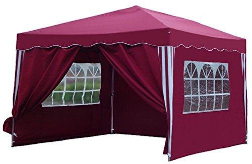 kronenburg falt pavillon dachma 3 x 3 m in rot mit 4 seitenteilen m bel24. Black Bedroom Furniture Sets. Home Design Ideas