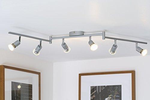 LED Deckenleuchte I schwenkbare Decken-Lampe I 6 flammig I inkl. 6 x 3 W Leuchtmittel I mit beweglichen Decken-Spots I Wohnzimmerlampe I 6 Spotlights I moderner Deckenstrahler I Metall I I Farbe: titan I 230V I GU10 I IP20