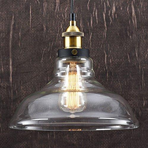 LOMT™ Vintage Deckenlampe Pendelleuchte Birnenform: Moderne Deckenleuchte im Retro Industrial Stil, aus Glas / Metall, Neue Edition, CE-zertifiziert. Durchmesser 28 cm, Höhe 23 cm.