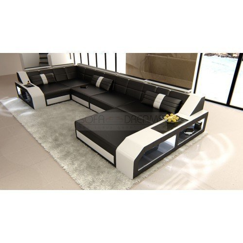 couchgarnitur arezzo u form schwarz weiss designer wohnlandschaft mit led m bel24. Black Bedroom Furniture Sets. Home Design Ideas