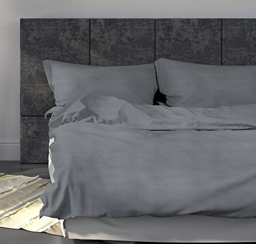 leichte seersucker bettw sche 155 x 220 cm grau atmungsaktiver kopfkissen und bettdecken. Black Bedroom Furniture Sets. Home Design Ideas