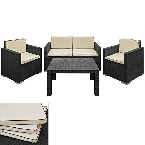 lounge set creme schwarz rattan optik 3 1 sessel bank tisch kombination einzelelemente flexibel. Black Bedroom Furniture Sets. Home Design Ideas