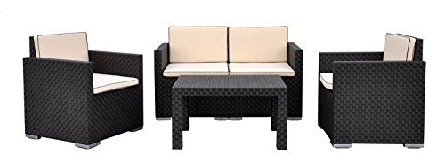 lounge set sitzgarnitur in rattanoptik 4 tlg inkl. Black Bedroom Furniture Sets. Home Design Ideas