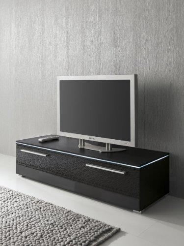 lowboard tv schrank 150 cm schwarz fronten hochglanz optional led beleuchtung beleuchtung ohne. Black Bedroom Furniture Sets. Home Design Ideas