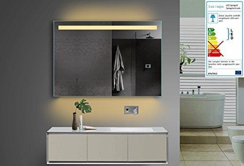 lux aqua design badezimmerspiegel mit kalt warmlicht w hlbar sowie steckdose 100x70 cm m bel24. Black Bedroom Furniture Sets. Home Design Ideas
