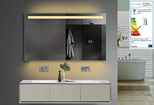 Lux-aqua Design Badezimmerspiegel mit Kalt/Warmlicht Wählbar Sowie Steckdose. 120x70 cm