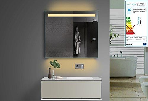 Lux Aqua Design Badezimmerspiegel mit Kalt/Warmlicht wählbar sowie Steckdose. 80x70 cm