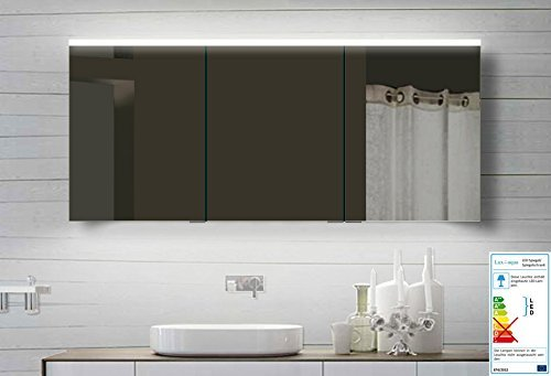lux aqua alu badezimmerspiegelschrank bad spiegelschrank mit led beleuchtung 140x70 cm m bel24. Black Bedroom Furniture Sets. Home Design Ideas