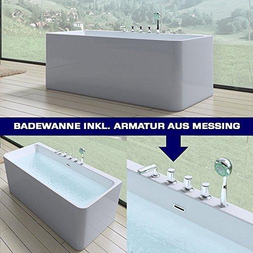 Luxus badewanne vicenza601 in wei mit armatur bth 180x80x57 cm wandmontage m bel24 - Badewanne mit armatur ...