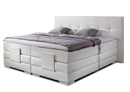 luxus boxspringbett in weiss elektrisch verstellbar nizza in 30 stoffe oder t leder 5 breiten 3. Black Bedroom Furniture Sets. Home Design Ideas