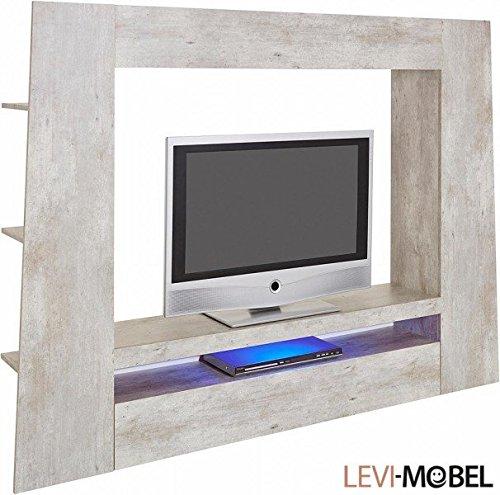 Levi-Moebel MEDIAWAND TV-LOWBOARD WOHNZIMMER WOHNWAND BETON-OPTIK NEU 318661