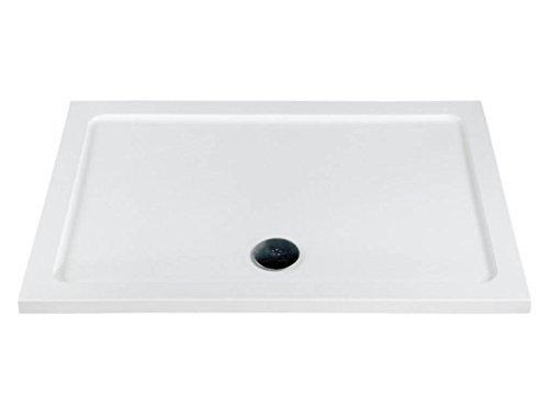 Flache Duschwanne aus Kunststein mit kostenlosem Abfluss | Alle Größen | Hergestellt in Großbritannien, gloss white, Rectangular - 1600 x 800mm