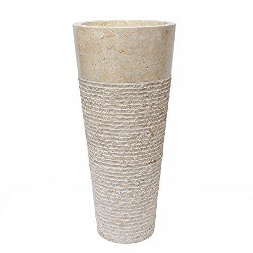 Marmor Standwaschbecken Säulenwaschbecken Waschbecken Handwaschbecken Waschsäule Rundwaschbecken Waschtisch 40cm Stein Rund Säule Creme Design 1