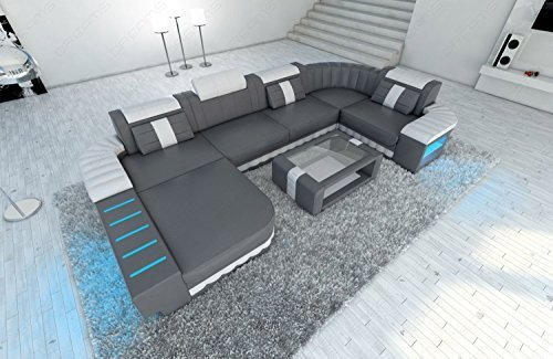 mega ledersofa bellagio u form mit led beleuchtung grau weiss m bel24. Black Bedroom Furniture Sets. Home Design Ideas