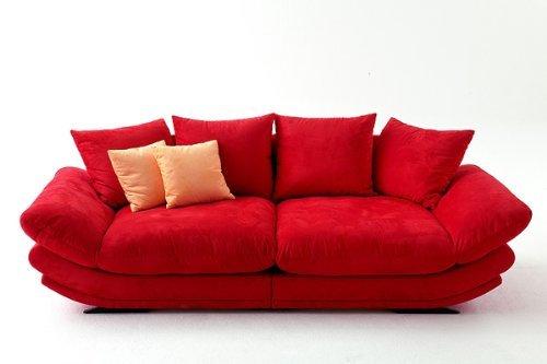 Mega-Loungesofa -Rose- riesige und megabequeme Sitzflächen - Microvelour Rot -