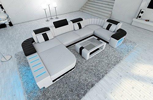 Mega Ledersofa Bellagio U-Form mit LED Beleuchtung weiss-schwarz