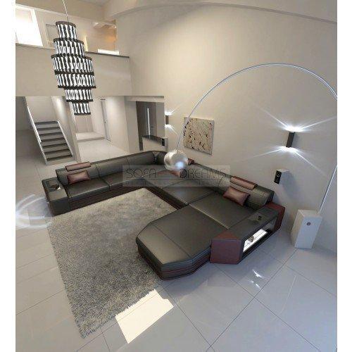 xxl wohnlandschaft leder sofa prato xxl schwarz weinrot. Black Bedroom Furniture Sets. Home Design Ideas
