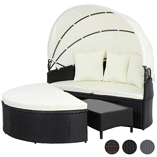 miadomodo polyrattan sonneninsel sonnenliege lounge gartenm bel mit aufklappbarem dach und. Black Bedroom Furniture Sets. Home Design Ideas